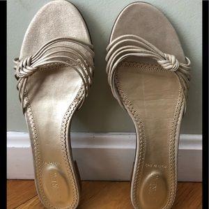 New JCREW Gold Metallic Slide Sandals 9. 1/2